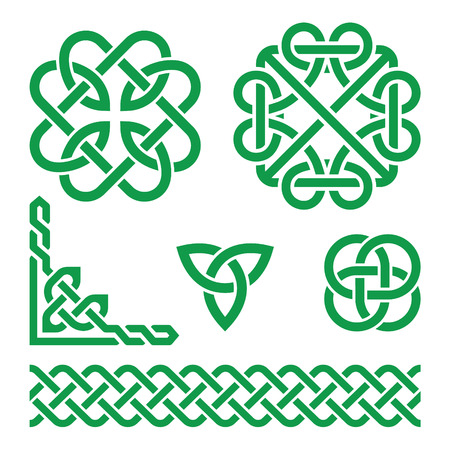 irish culture: Celtic green Irish knots, braids and patterns