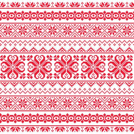 bordados: Ucraniana, bielorrusa sin fisuras patrón de bordado de color rojo - Vyshyvanka