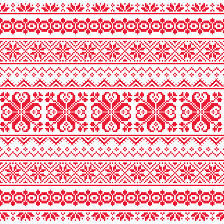 slavic: Ukrainian, Belarusian red embroidery seamless pattern - Vyshyvanka