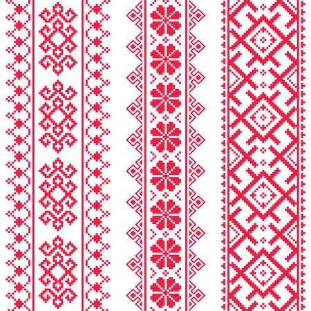 Ucraniana, bielorrusa sin fisuras patrón de bordado de color rojo - Vyshyvanka