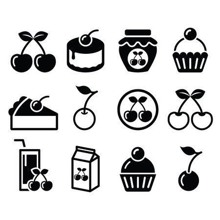 cherries: Cherry, fruit cake, jam icons set