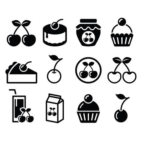 Kirsche, Obstkuchen, Marmelade Icons Set