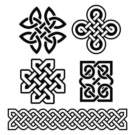 Patrones irlandeses celtas y trenzas - vector