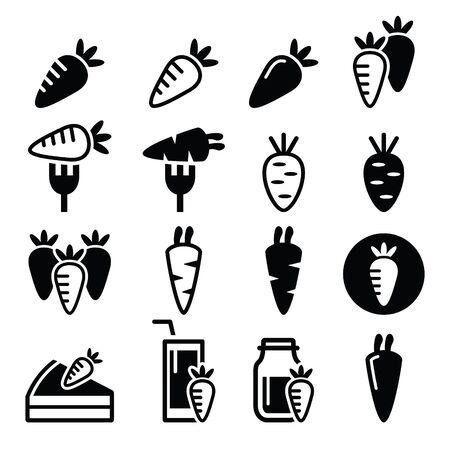 zanahorias: Zanahoria, zanahoria comidas - torta, jugo de iconos conjunto de vectores Vectores