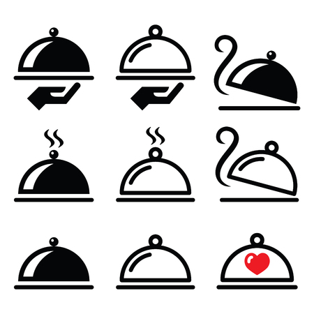 dinner party people: Meal, dinner, food platter icons set