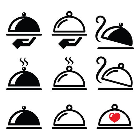 slow food: Meal, dinner, food platter icons set