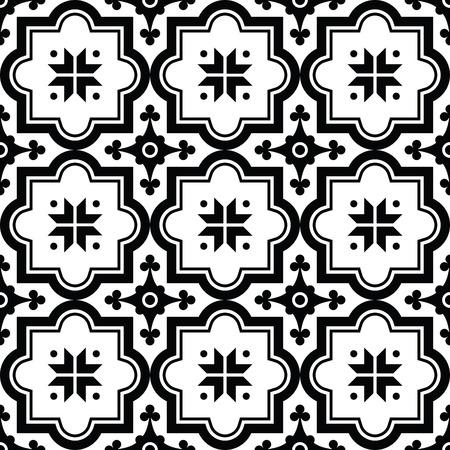 Arabic pattern, Moroccan black tiles design  イラスト・ベクター素材