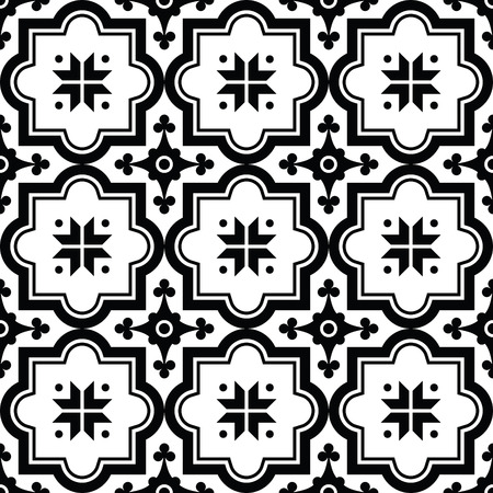 Arabic pattern, Moroccan black tiles design Vettoriali