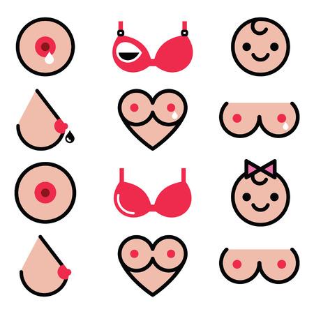Breastfeeding, lactation, women's colorful icons set
