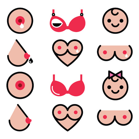 Breastfeeding, lactation, women's breast colorful icons set