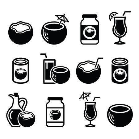 Coconut milk, oil, cocktail - vector icons set Illustration