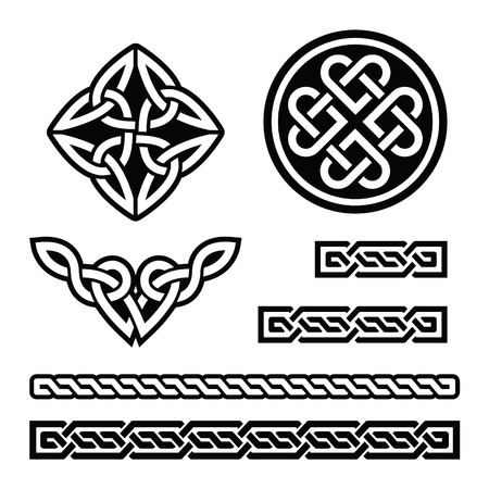Celtic Irish patterns and braids - vector, St Patrick's Day