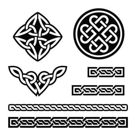celtic background: Celtic Irish patterns and braids - vector, St Patricks Day Illustration