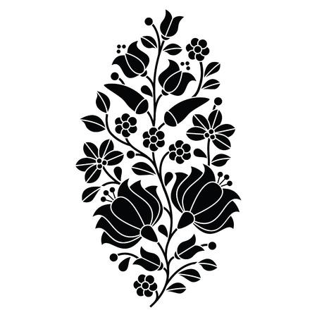 헝가리어 검은 민속 패턴 - 꽃과 파프리카 Kalocsai 자수 일러스트