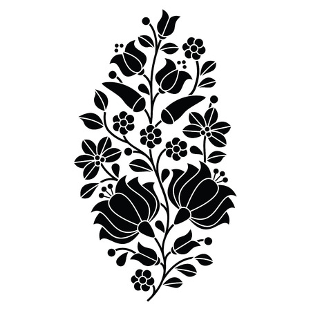Hungarian black folk pattern - Kalocsai embroidery with flowers and paprika Illustration