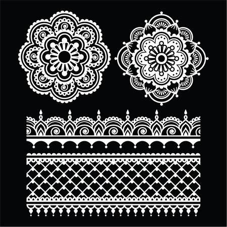 henna tattoo: Mehndi, Indian Henna tattoo white seamless pattern on black