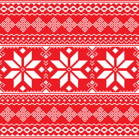Traditional folk red and white embroidery pattern from Ukraine or Belarus - Vyshyvanka Illustration