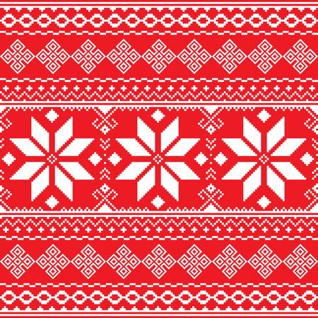 ukraine folk: Traditional folk red and white embroidery pattern from Ukraine or Belarus - Vyshyvanka Illustration
