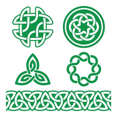 celtica: Celtici modelli verdi irlandesi e nodi - vettore, giorno di San Patrizio