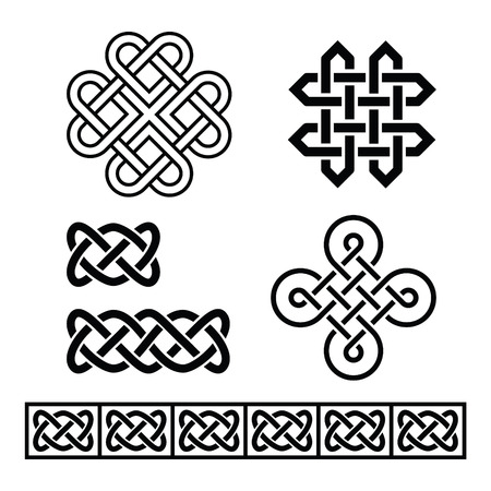 british culture: Celtic Irish patterns and braids - vector