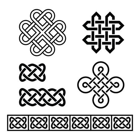 bordes decorativos: Patrones irlandeses celtas y trenzas - vector Vectores