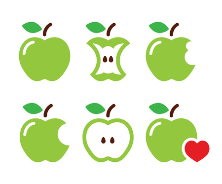 Green apple, apple core, bitten, half vector icons