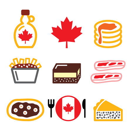 north america: Canadian food icons - maple syrup, poutine, nanaimo bar, beaver tale, tourtiere Illustration