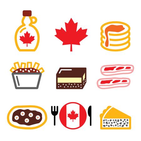 Iconos de los alimentos de Canadá - jarabe de arce, poutine, barra de Nanaimo, cuento castor, Tourtiere