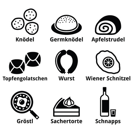 Austrian food - traditional meals an drink icons set