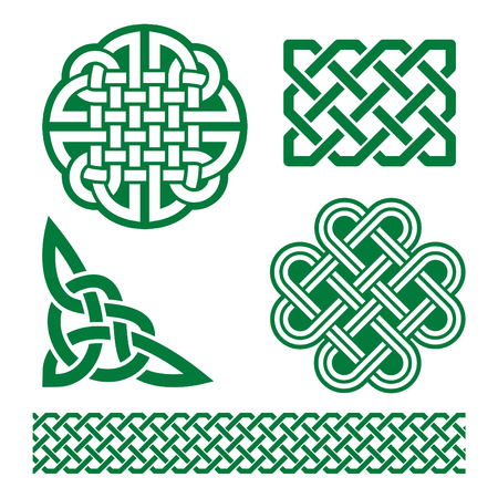 Celtic green knots, braids and patterns - St Patrick's Day in Ireland Vectores