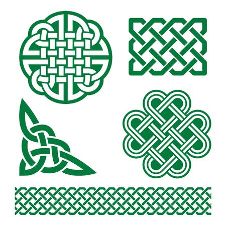 Celtiche nodi verdi, trecce e modelli - giorno di San Patrizio in Irlanda