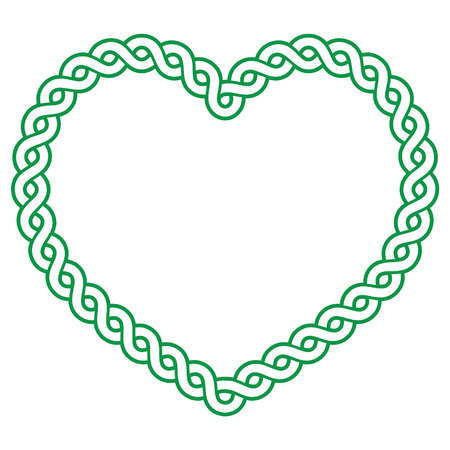 17 of march: Celtic pattern green heart shape - love concept fot St Patricks Day, Valentines