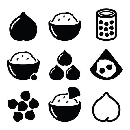 フムスやはじめ、ヒヨコ豆ベクトルのアイコンを設定