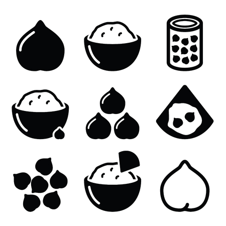 garbanzos: Humus o humus, iconos garbanzos conjunto de vectores