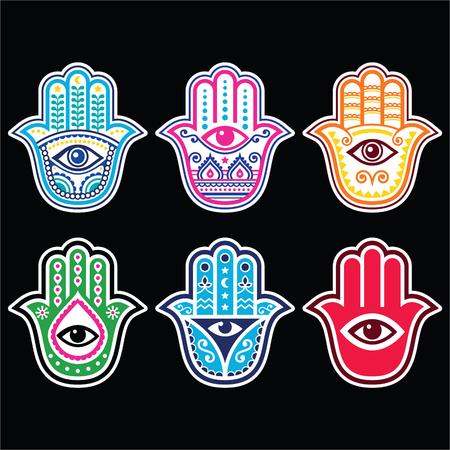 la mano de Hamsa, Mano de Fátima - amuleto, símbolo de la protección del ojo del diablo sobre fondo negro Ilustración de vector
