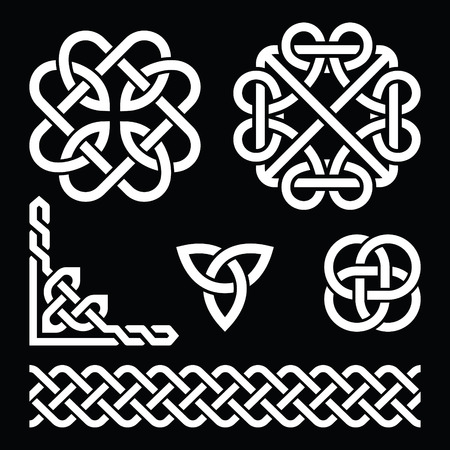 celtic frame: Celtic Irish knots, braids and patterns in white on black background