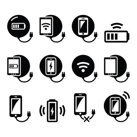 Draadloos opladen pad voor smartphone of tablet pictogrammen instellen Stockfoto - 50576427