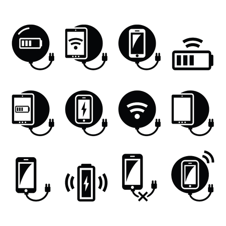 Wireless charging pad for smartphone or tablet icons set Vectores