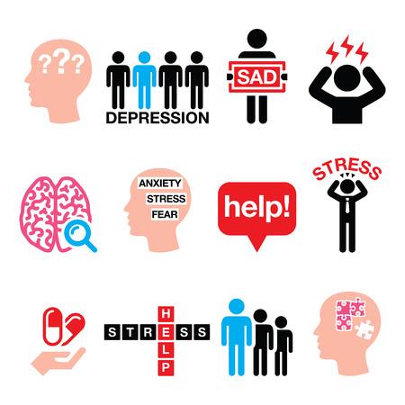 depresión: Depresión, estrés iconos conjunto - concepto de la salud mental