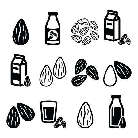 almond: Almonds, almond milk vector icons set