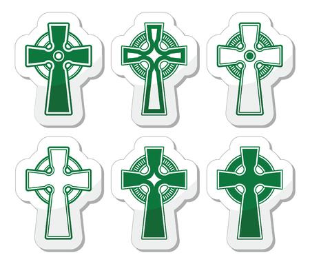 english countryside: Irish, Scottish Celtic cross on white vector sign