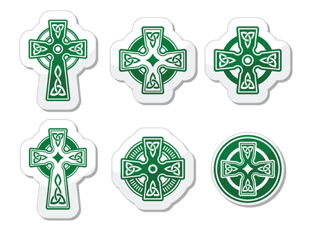 celtic: Irish, Scottish Celtic cross on white vector sign