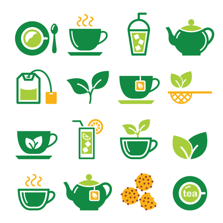 antioxidant: Green tea and ice tea vector icons set