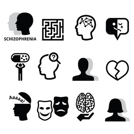 Schizophrenia, mental health, psychology vector icons set Illustration