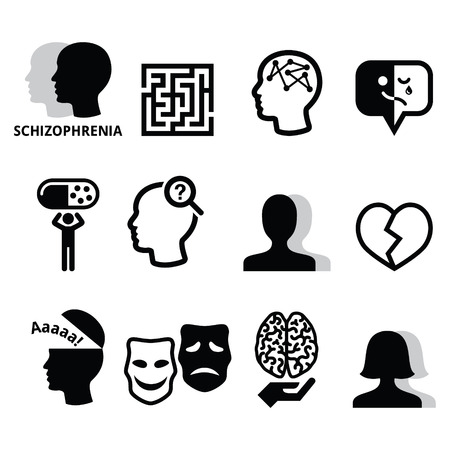 Schizophrenia, mental health, psychology vector icons set Illustration