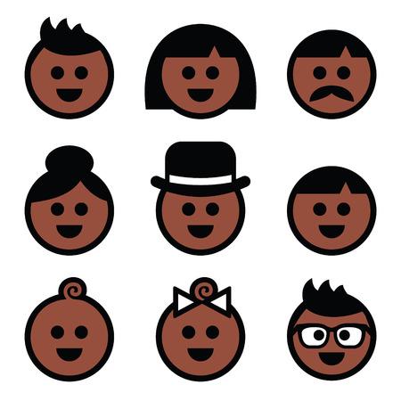 color skin brown: Human brown, dark skin color icons set