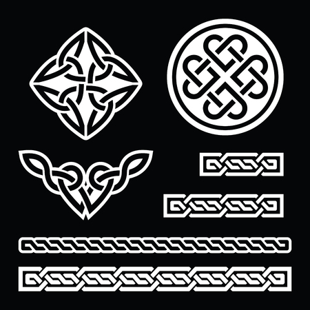 rope folk: Celtic Irish patterns and braids - vector, St Patricks Day on black