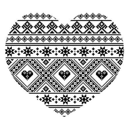 黒ウクライナやベラルーシ民芸ハート柄 - バレンタインの日  イラスト・ベクター素材