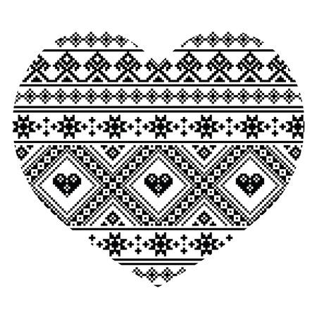folk art: Traditional black Ukrainian or Belarusian folk art heart pattern - Valentines Day