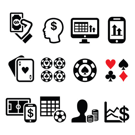 Gambling, online betting, casino icons set